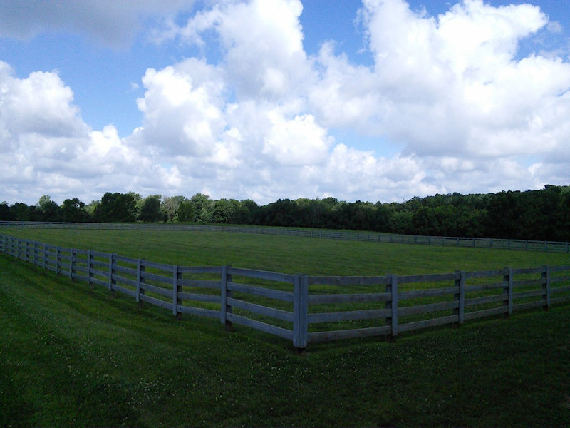 A large grass field with a wooden fence