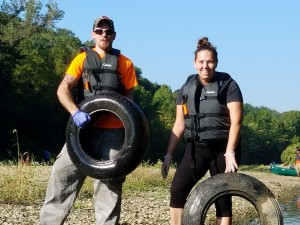 Two individuals with tires