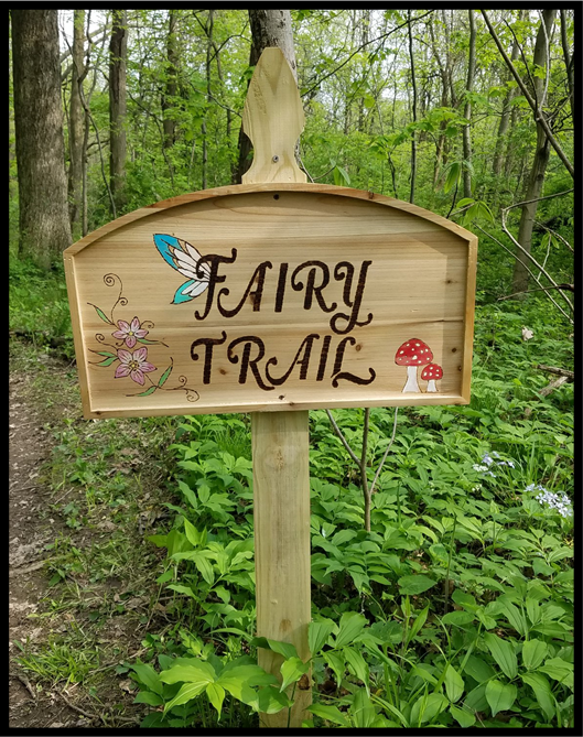 Wooden sign for Fairy Trail